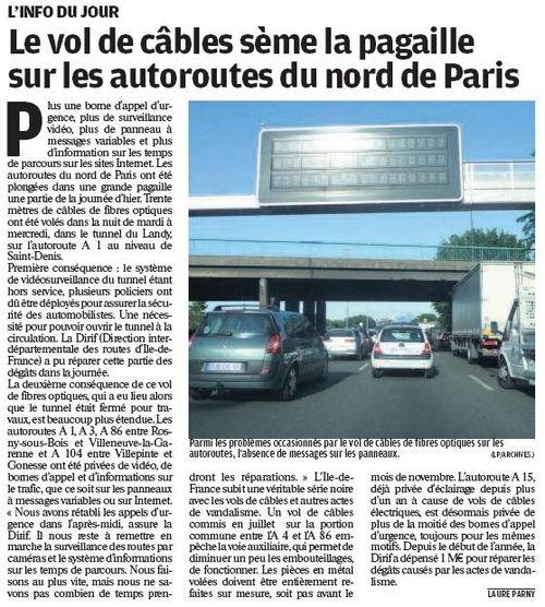 Article Parisien - vol de câbles - 160910